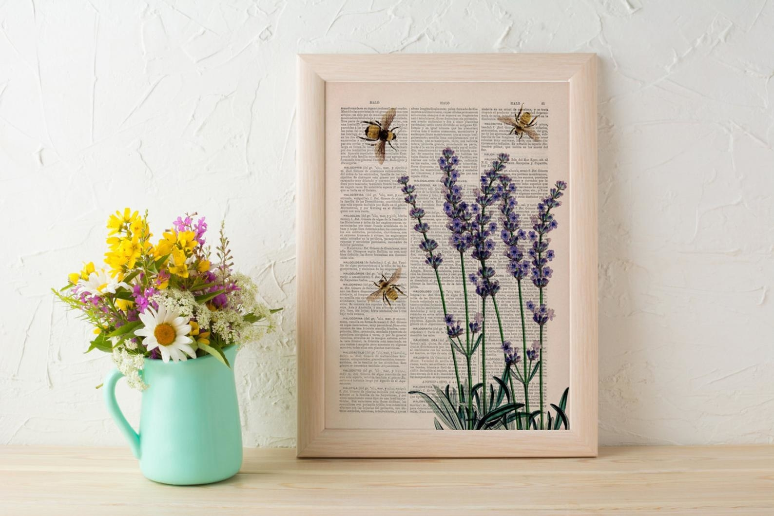 Vintage dictionary book page with print of bees and lavender