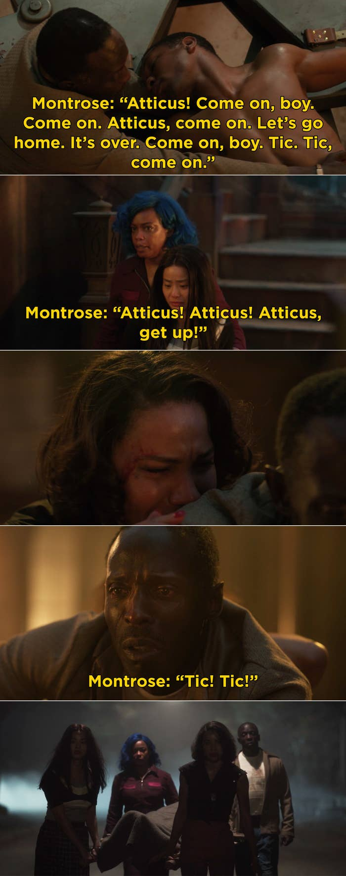 Montrose calling out to Atticus and trying to get him to wake up, while Leti, Ji-Ah, and Hippolyta cry and eventually carry his body