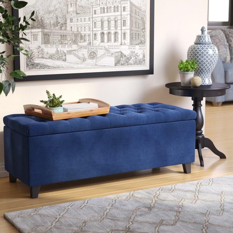 The blue storage bench