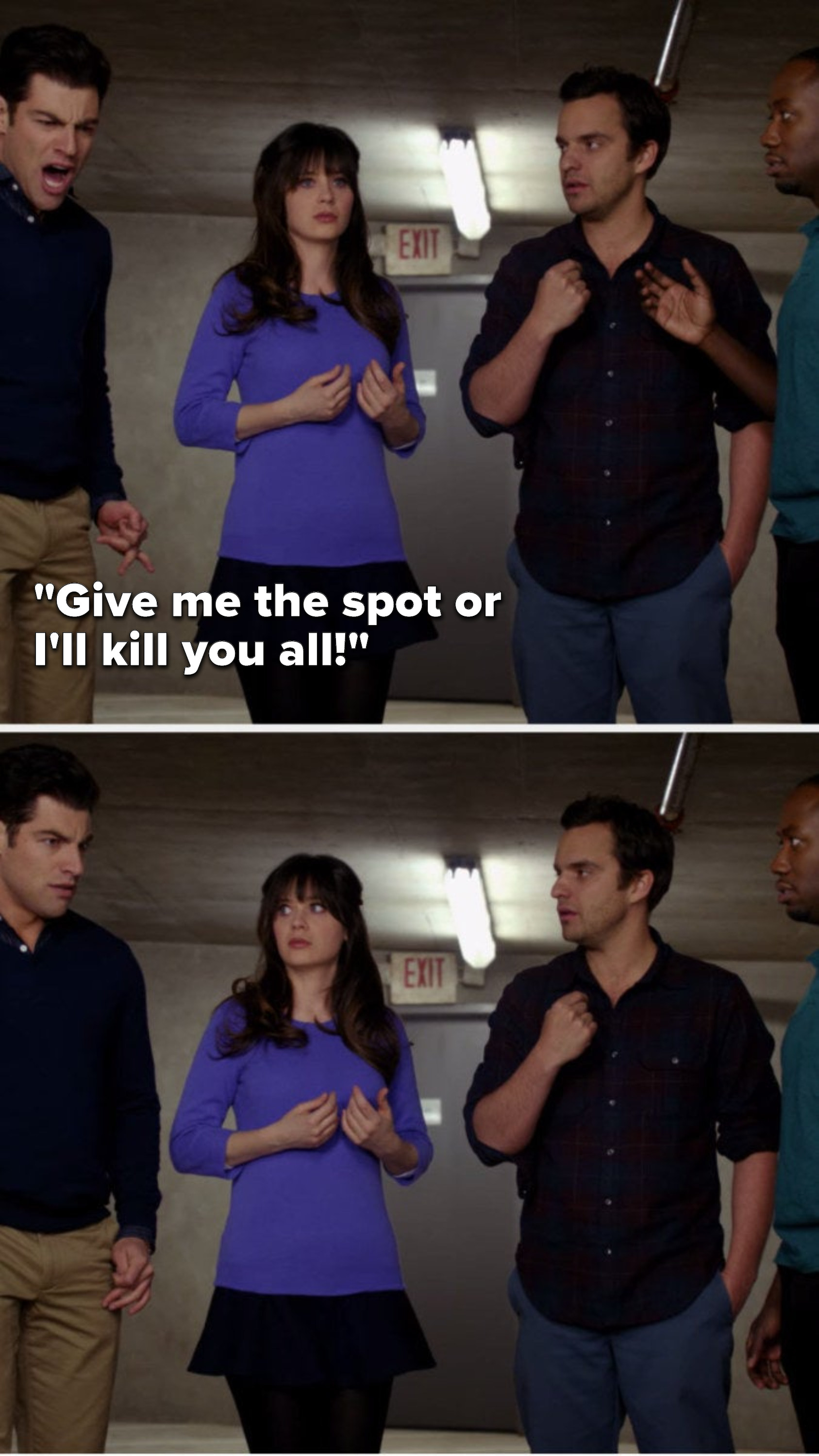 "Schmidt yells, ""Give me the spot or I'll kill you all"" and Jess, Nick and Winston stare at him"