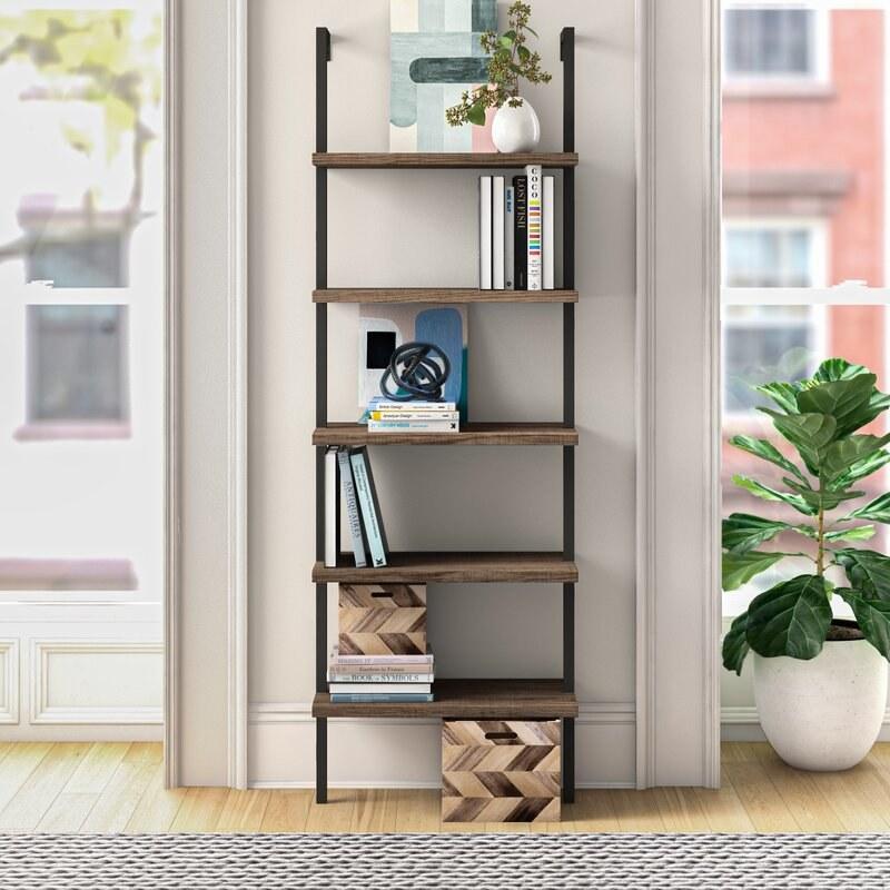 The wood and steel shelf