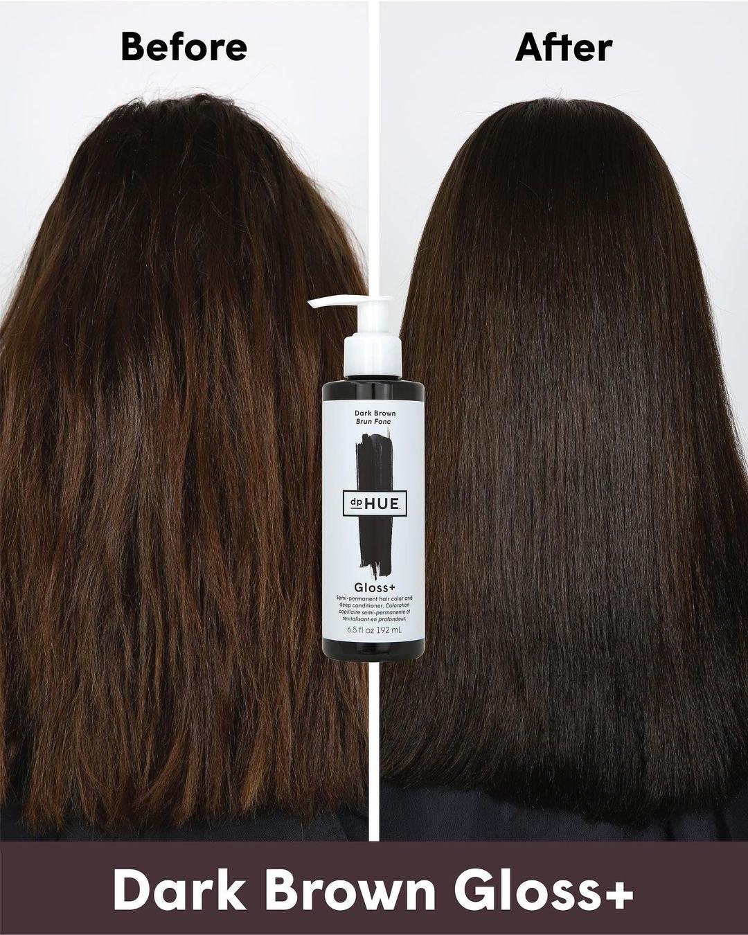 A model's medium brown hair before using dark brown gloss+ and the same model's dark brown hair after use