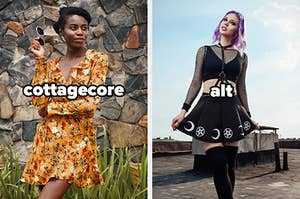 a cottagecore girl and an alt girl