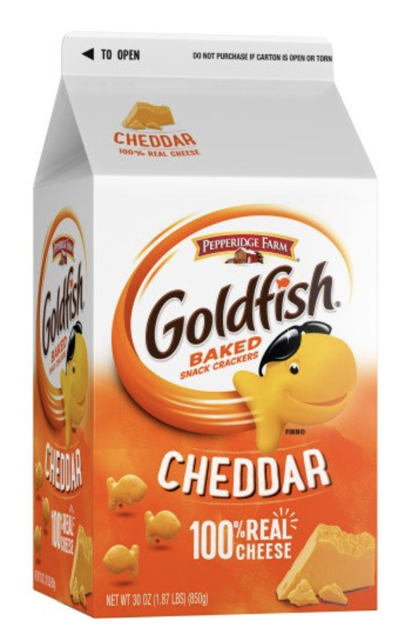 A tall carton of cheddar baked Goldfish