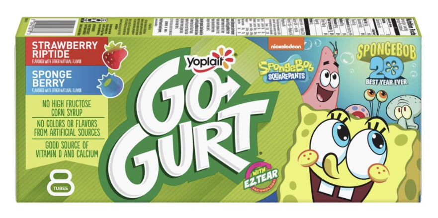 A box of go-gurts with Spongebob characters on them