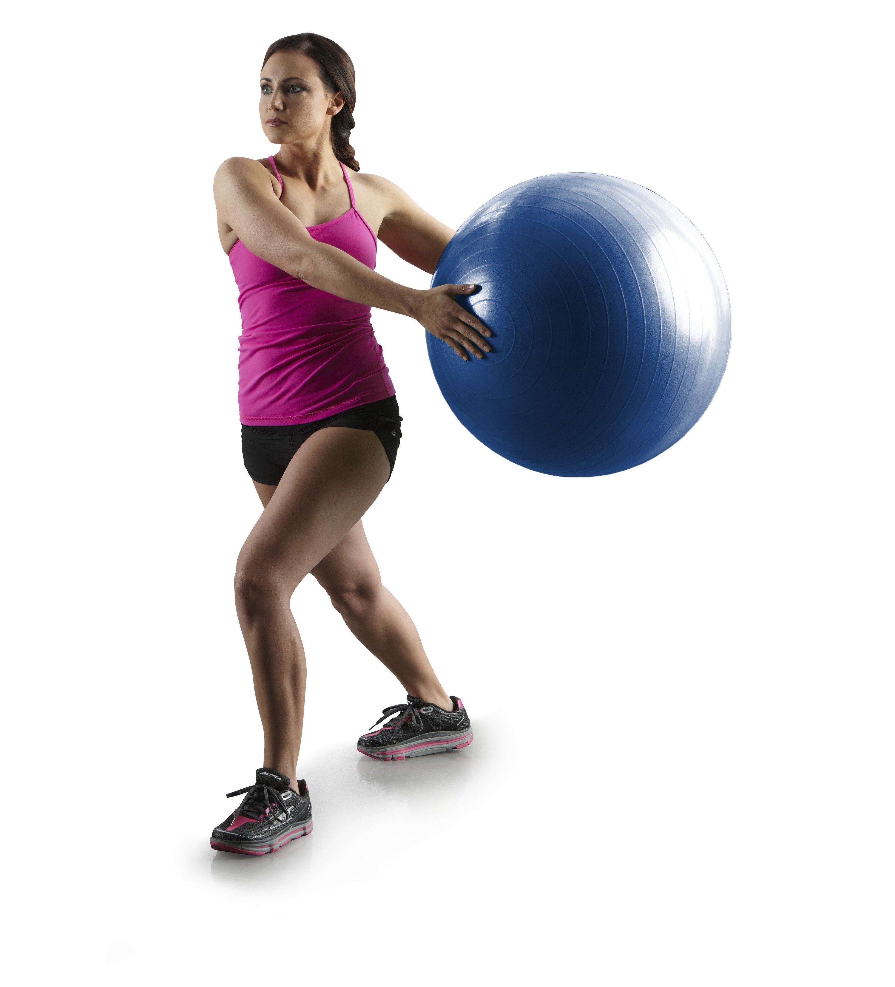 person using a blue exercise ball