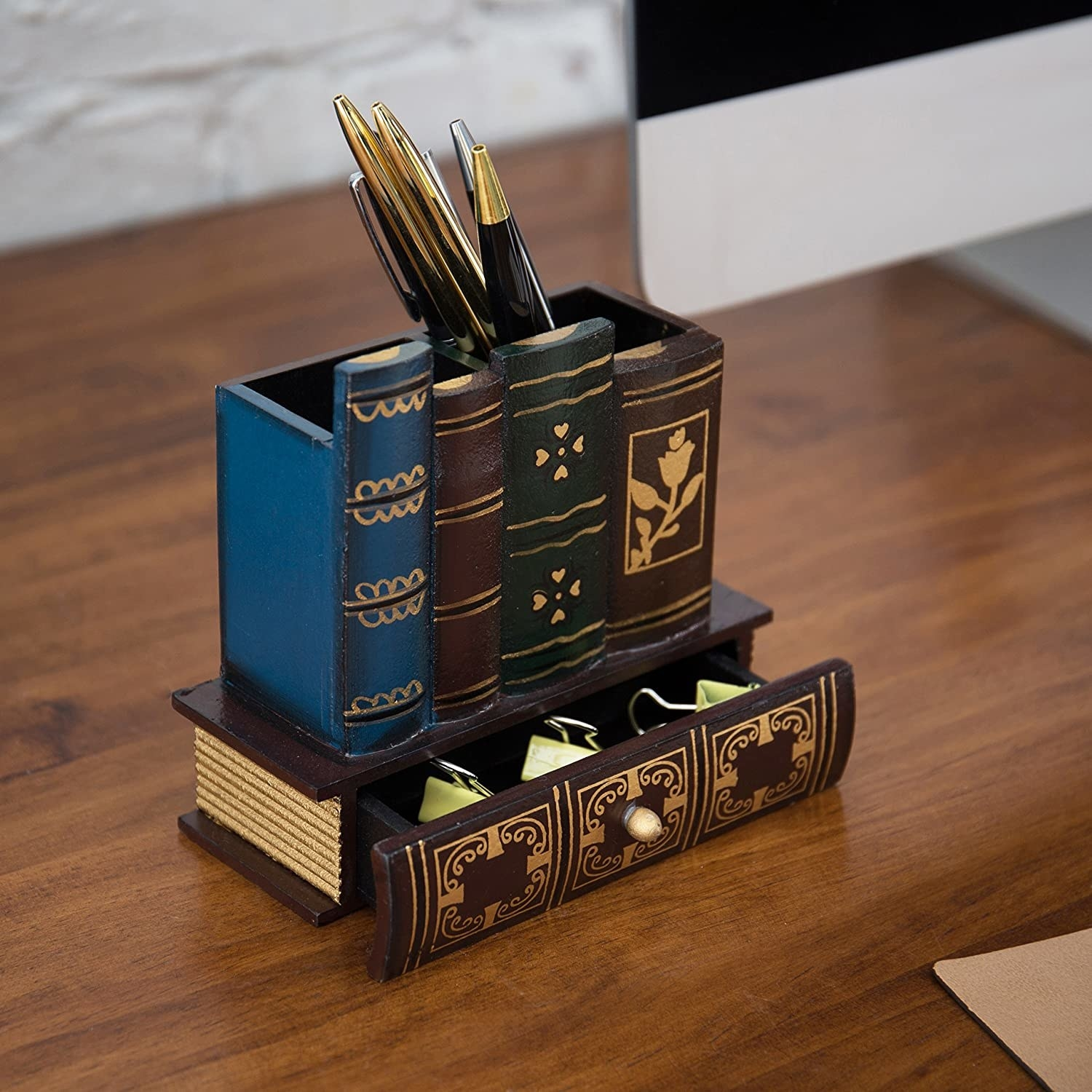 Stacked bookshelf shaped pencil holder with mini book drawer on the bottom