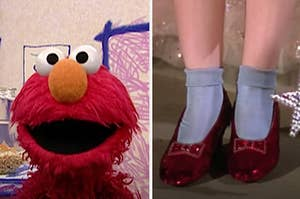 Side-by-side images of Elmo and Dorothy's ruby slippers