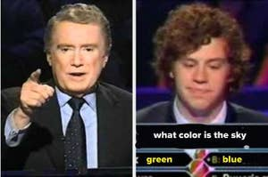 regis asking a question and a contestant thinking hard
