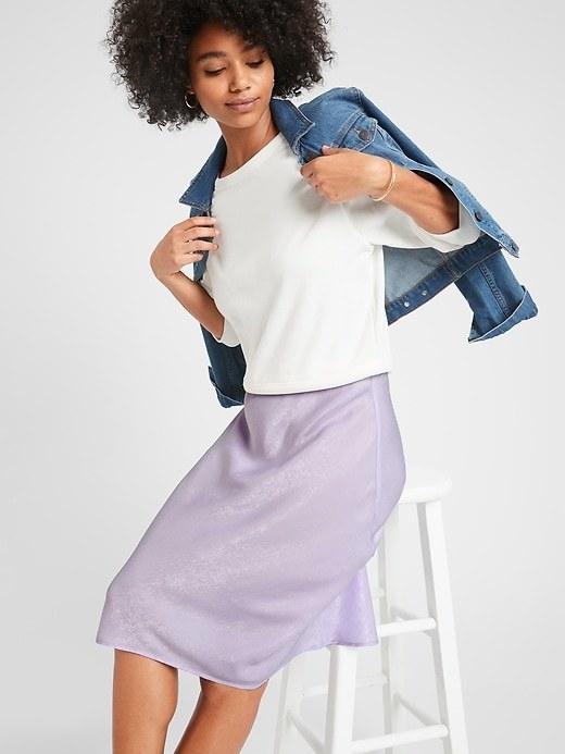 Model in the lavender skirt