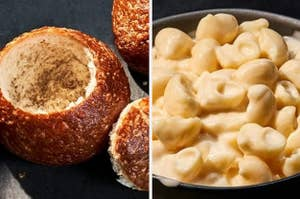 A Panera bread bowl and bowl of mac n cheese