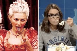 Side-by-side images of Marie Antoinette eating cake and Tina Fey eating cake on SNL