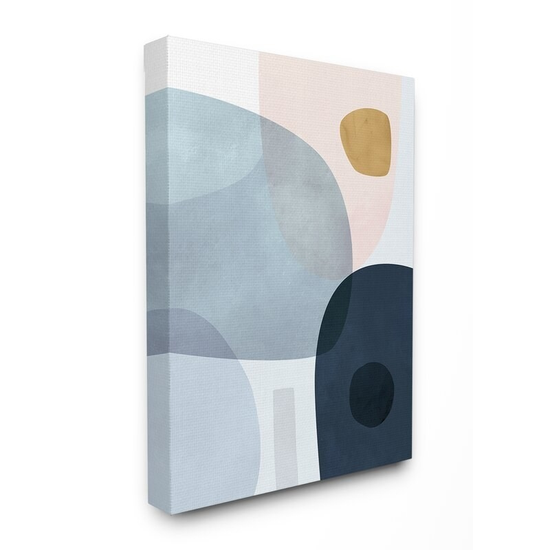 Abstract art with pink, blue, navy, tan and gray details