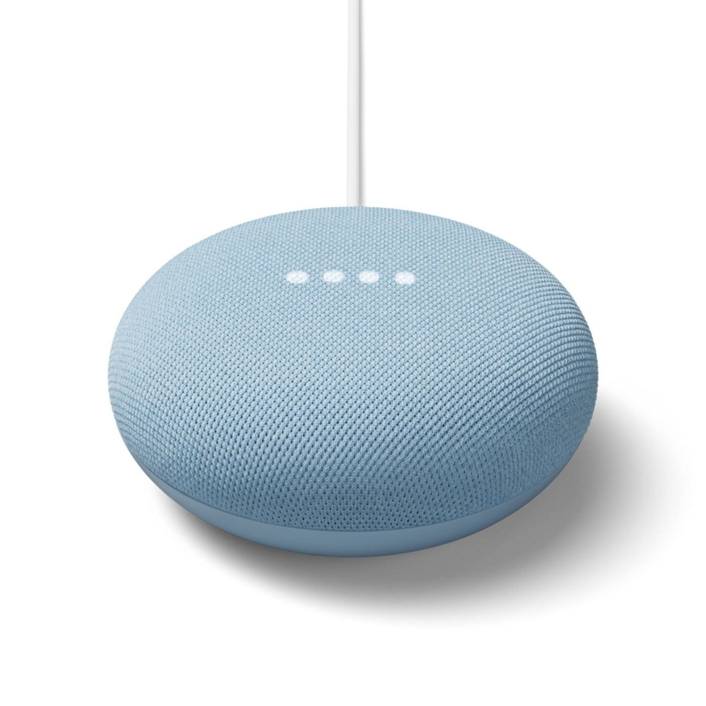 The sky blue Google Nest mini