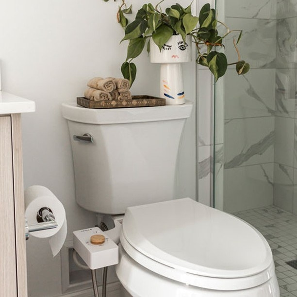 a white toilet seat with the white bidet and bamboo knob attached