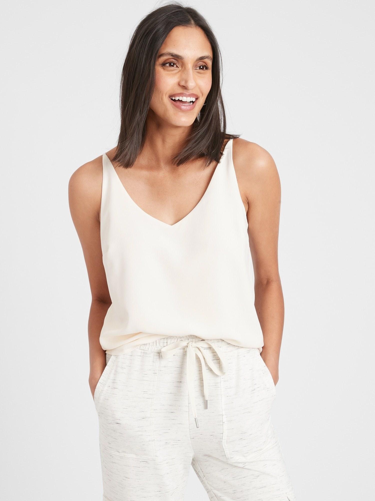 Model in the white cami