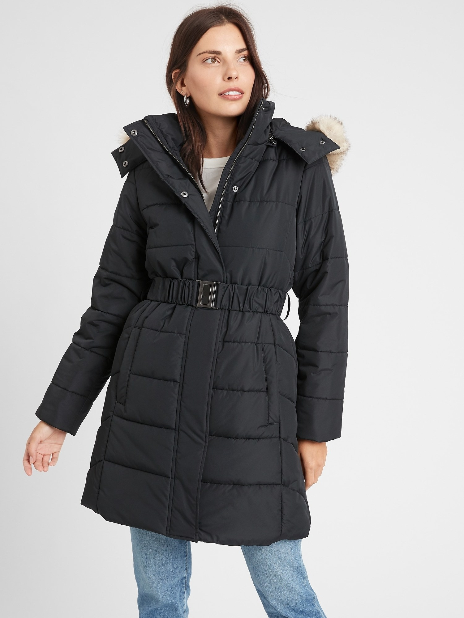 Model in the black quilted jacket