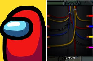 "On the left, the app icon for ""Among Us,"" and on the right, electrical wires in ""Among Us"""