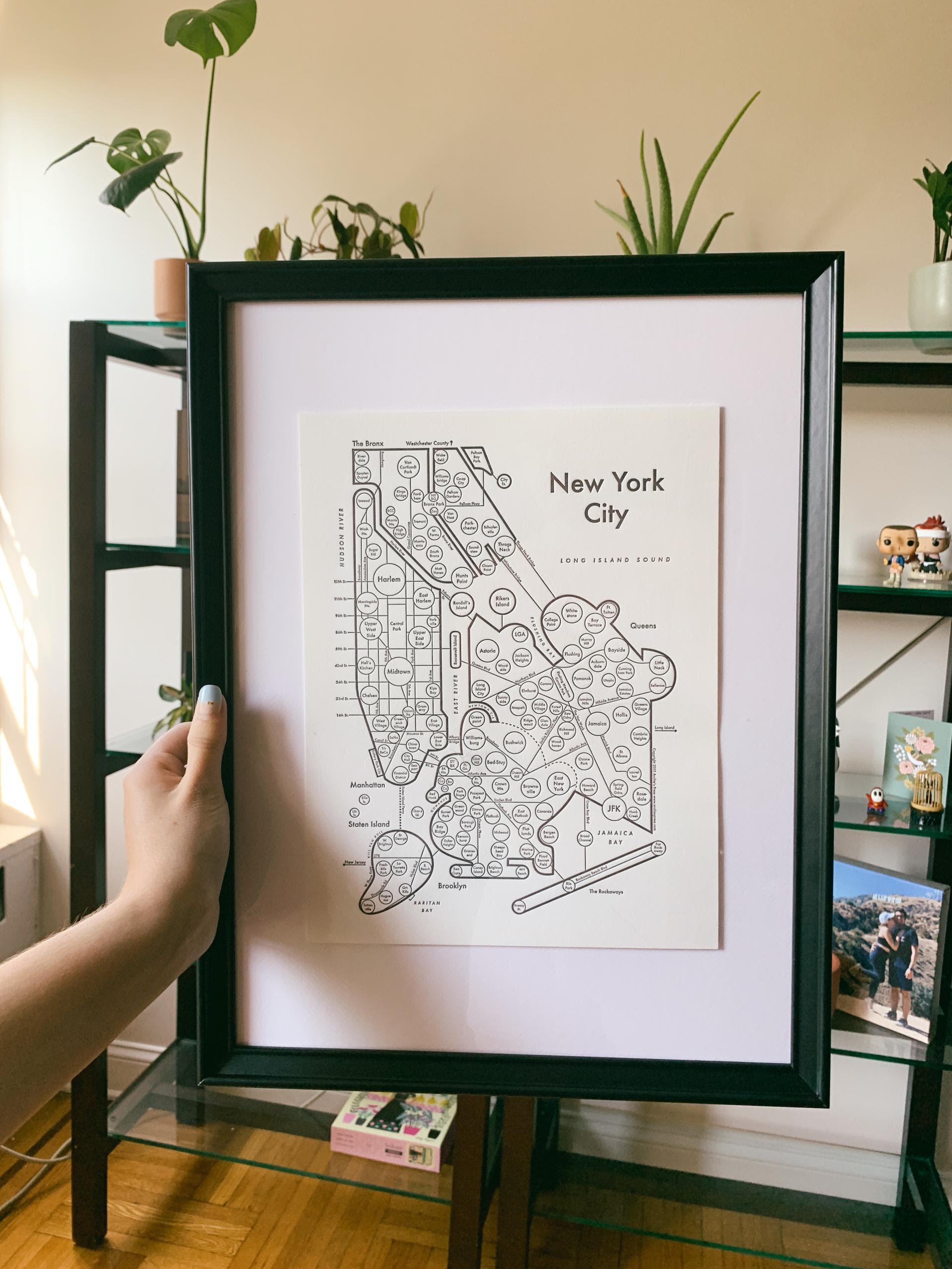 framed map of new york city