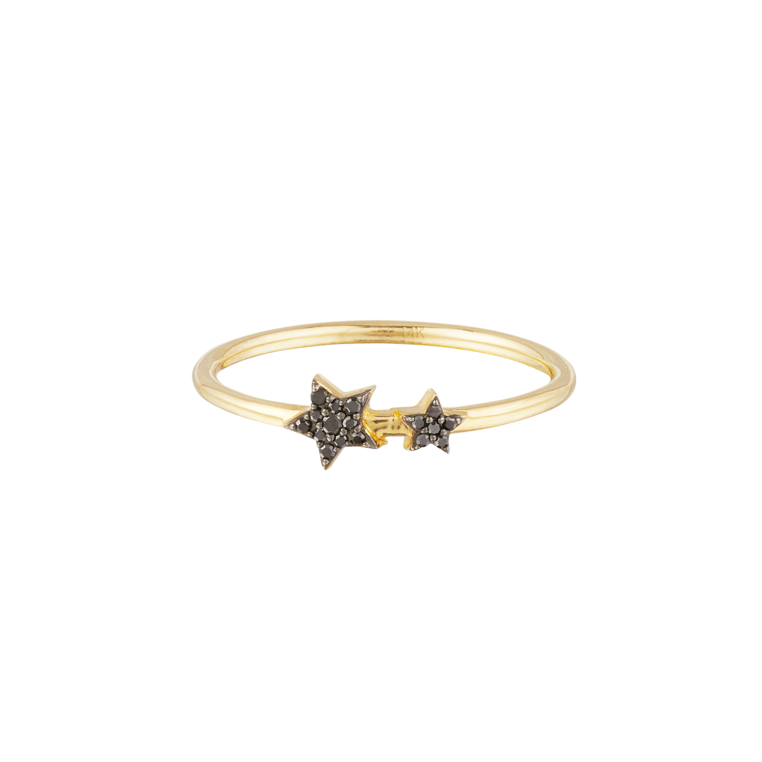 a thin gold band ring with the two black stars on it