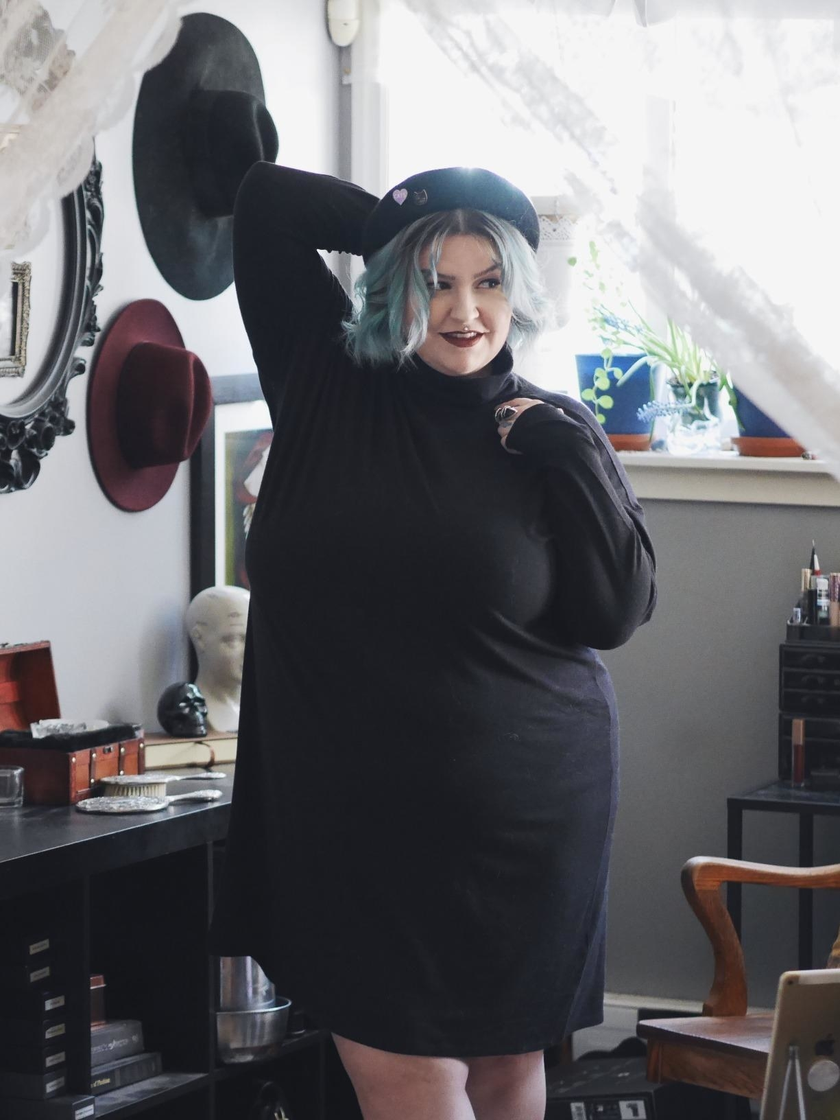 reviewer modeling the dress