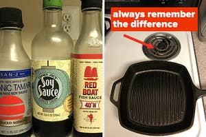 Sauce bottles next to an electric stove