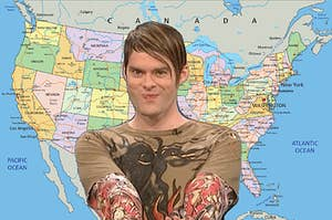 SNL's Stefan sitting in front of a US map