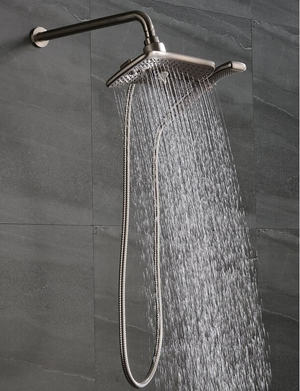 Brushed nickel shower head