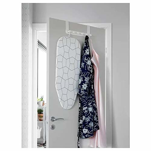 Hanger with robe, portable iron board hanging from it.