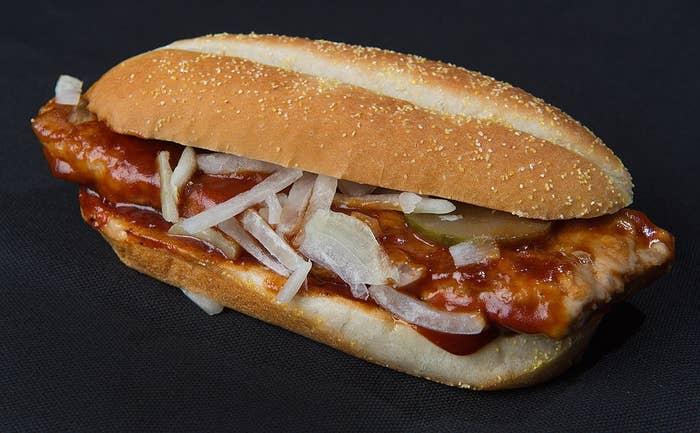 The McRib barbecue sandwich