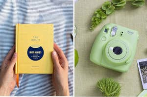 A two-minute journal / a green instant camera