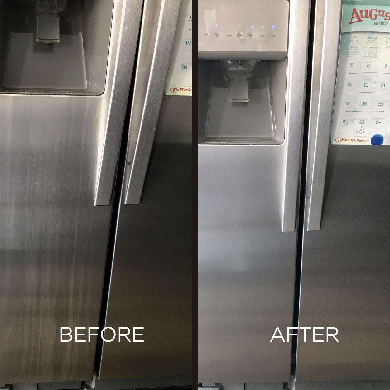 A before and after image: left shows before, with a steel fridge door covered in moisture streaks; left shows after, with the streaks and grime removed from the fridge door