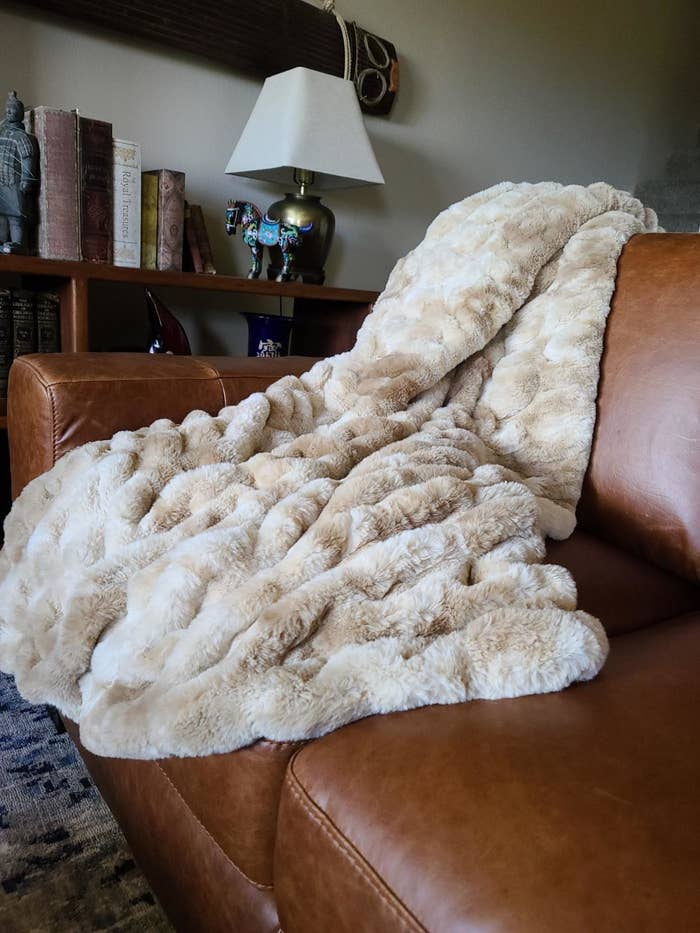 Reviewer image of the Chanasya Ruched Royal Faux Fur Throw Blanket in beige