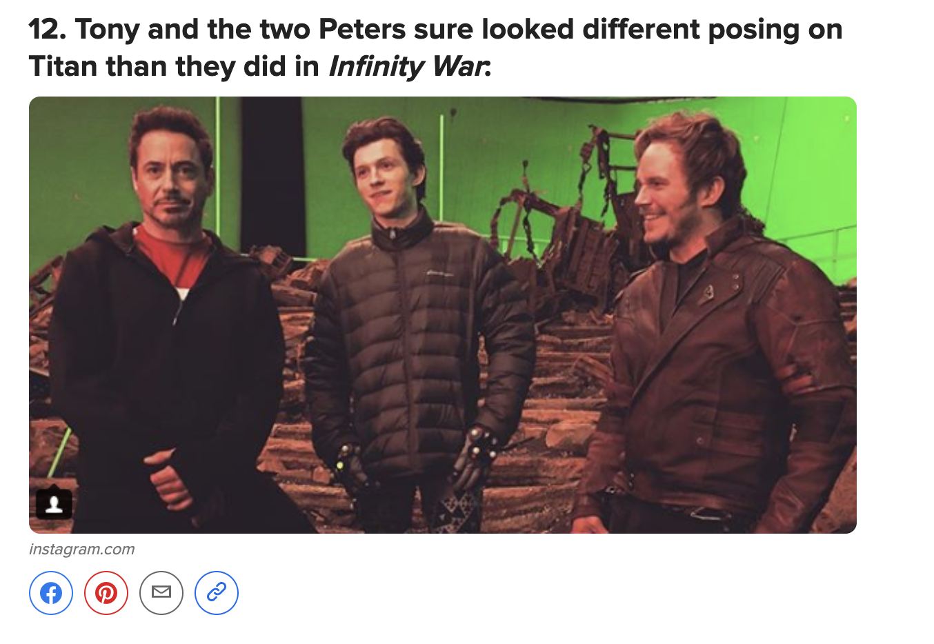 The original photo with Tom Holland standing in between RDJ and Chris Pratt