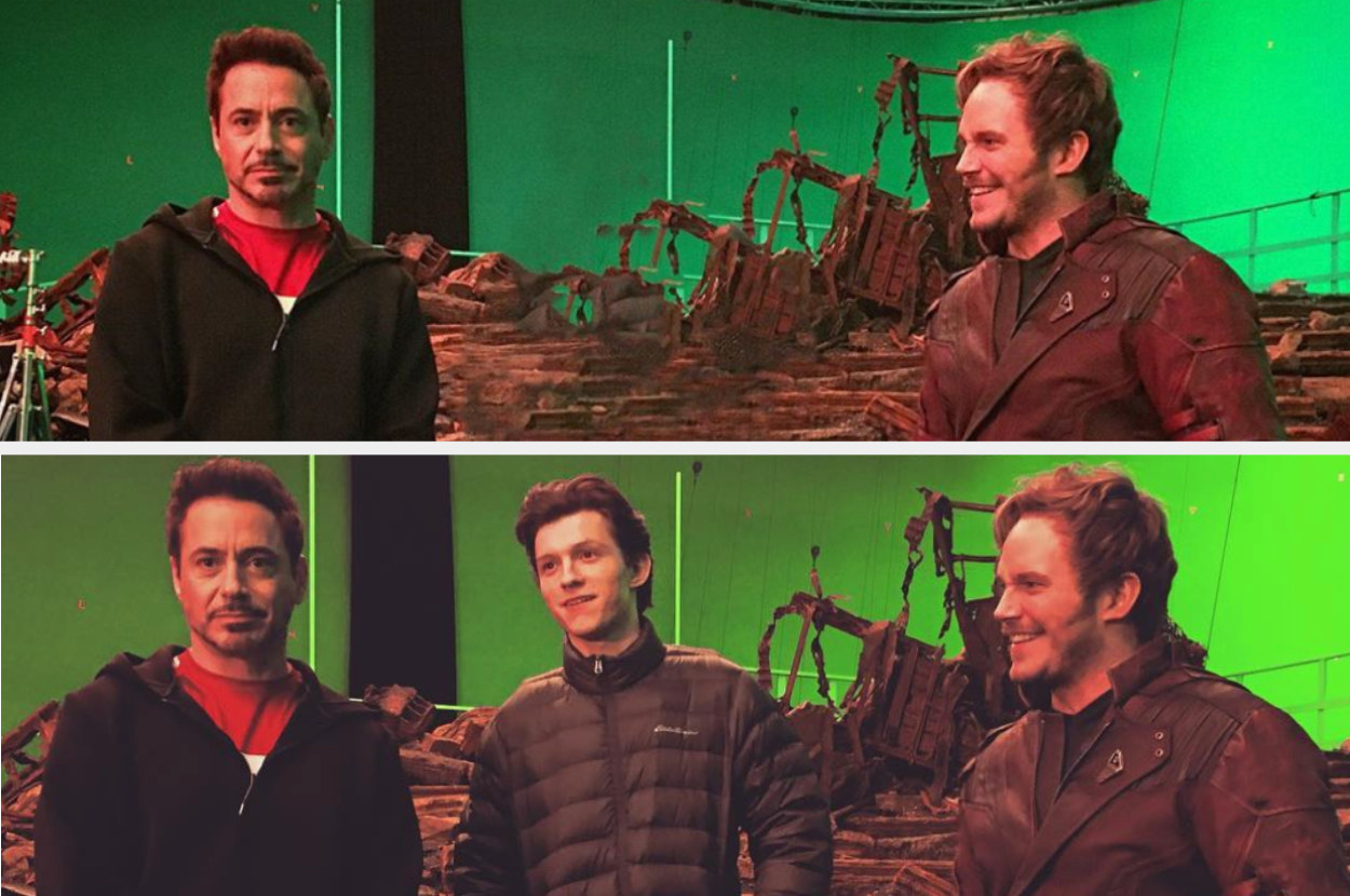 The new photo without Tom Holland, contrasted with the original