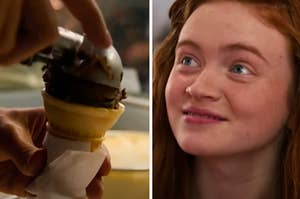 Someone is scooping chocolate ice cream on the left with Max widening her eyes on the right