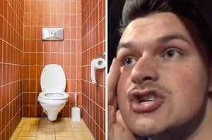 Austin recounting his story and a photo of a bathroom stall