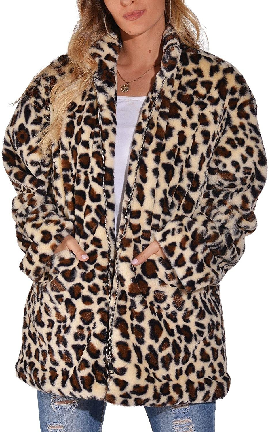 Model in the zip-front leopard print jacket
