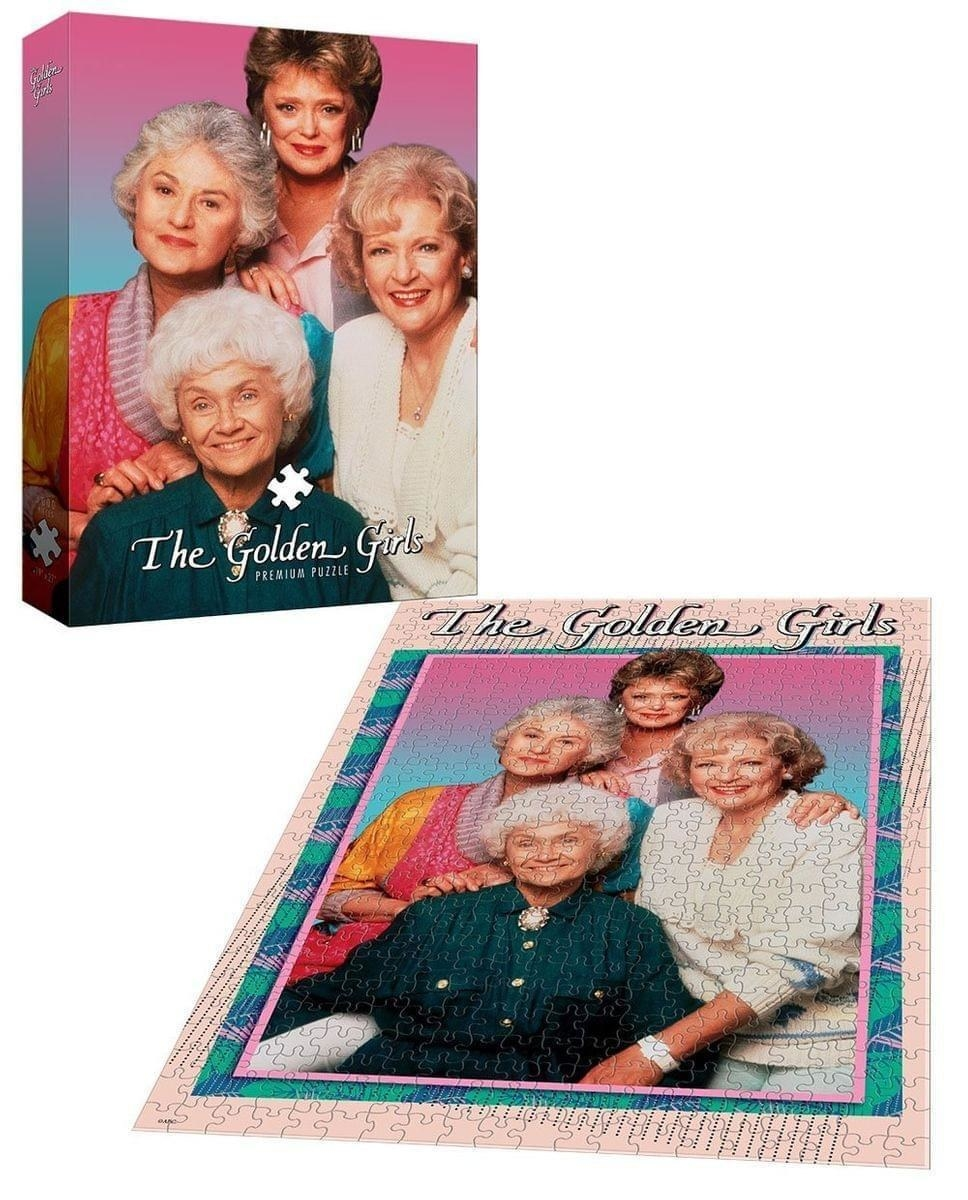 the four main golden girls characters on a puzzle
