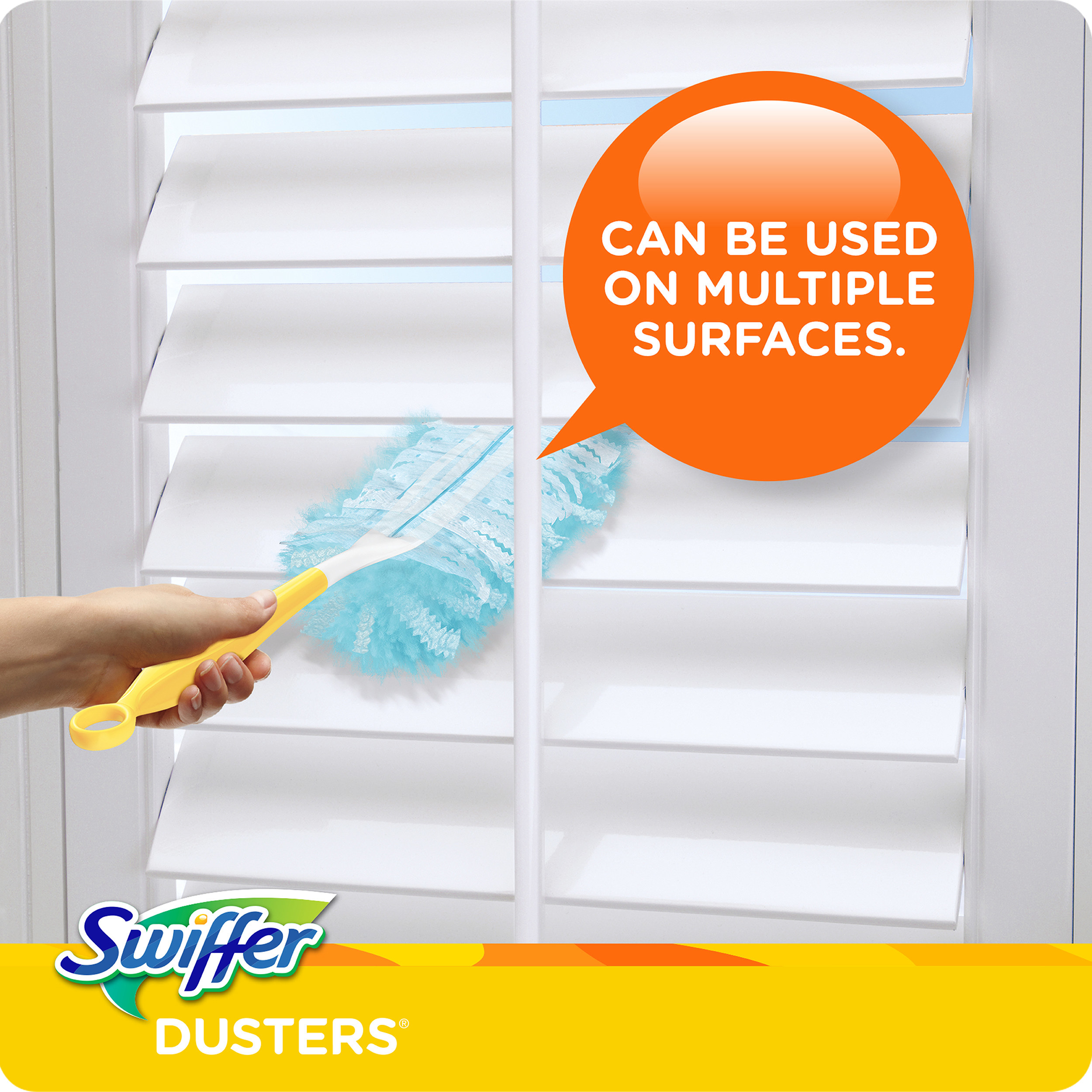 The Swiffer, which has a slim plastic handle, and a thin, fluffy top made from disposable fibers