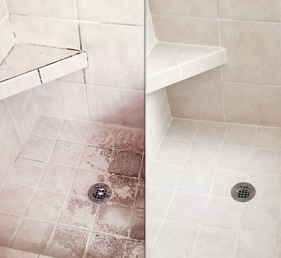 On the left, a tile shower covered in mold; on the right, the same shower, now free of mold due to the cleaner