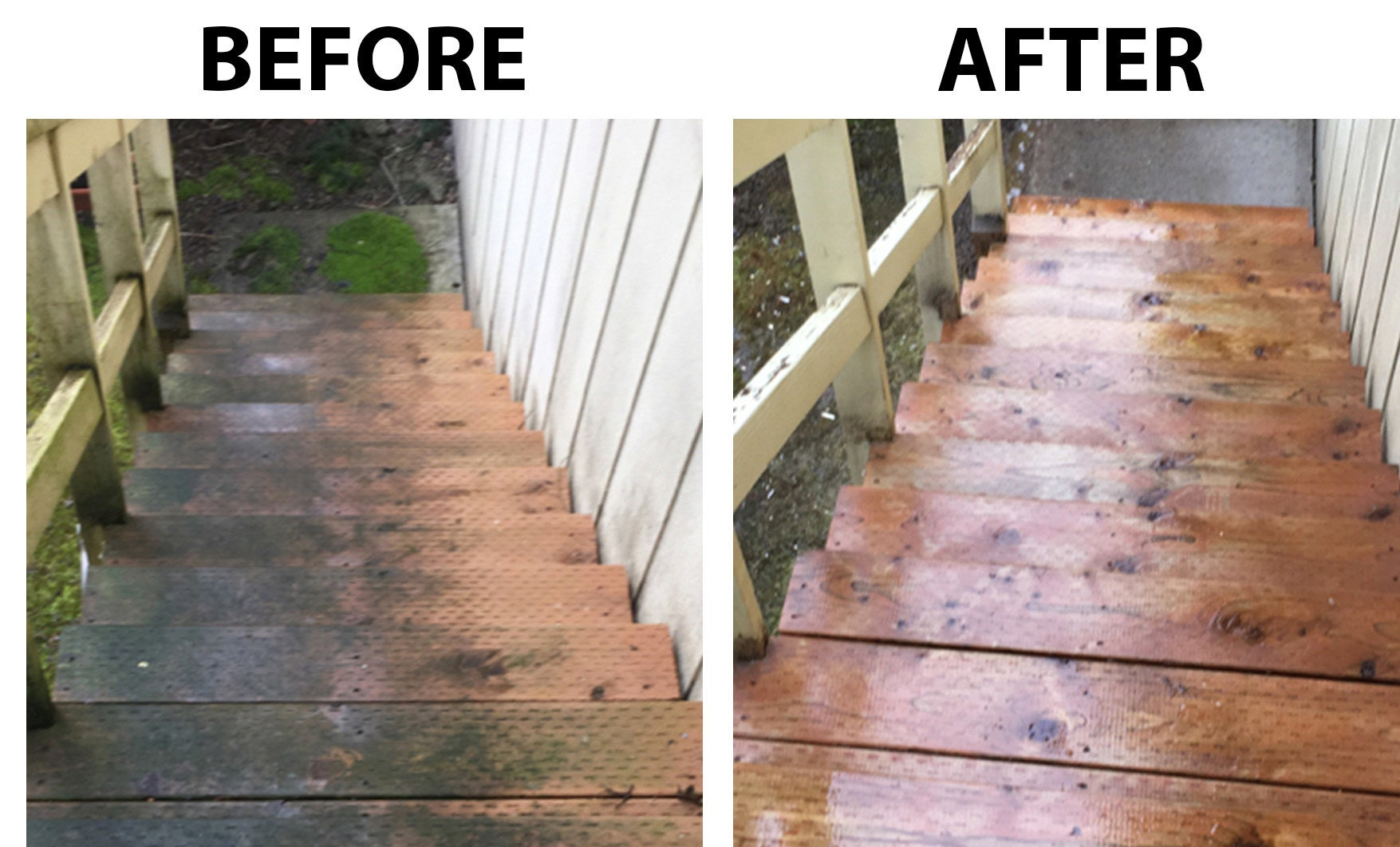 A before and after image: the before, with mold on wooden stairs; the after, with the mold cleaned off the stairs