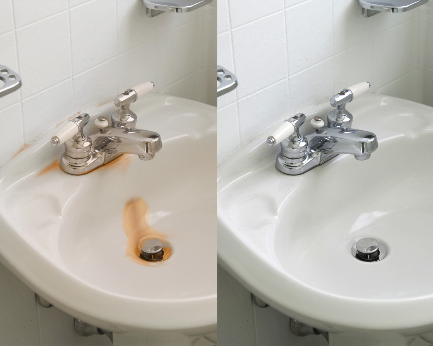 A before and after image: the before, a white porcelain sink with rust stains around the drain and faucet; the after, the same sink with the rust stains cleaned away