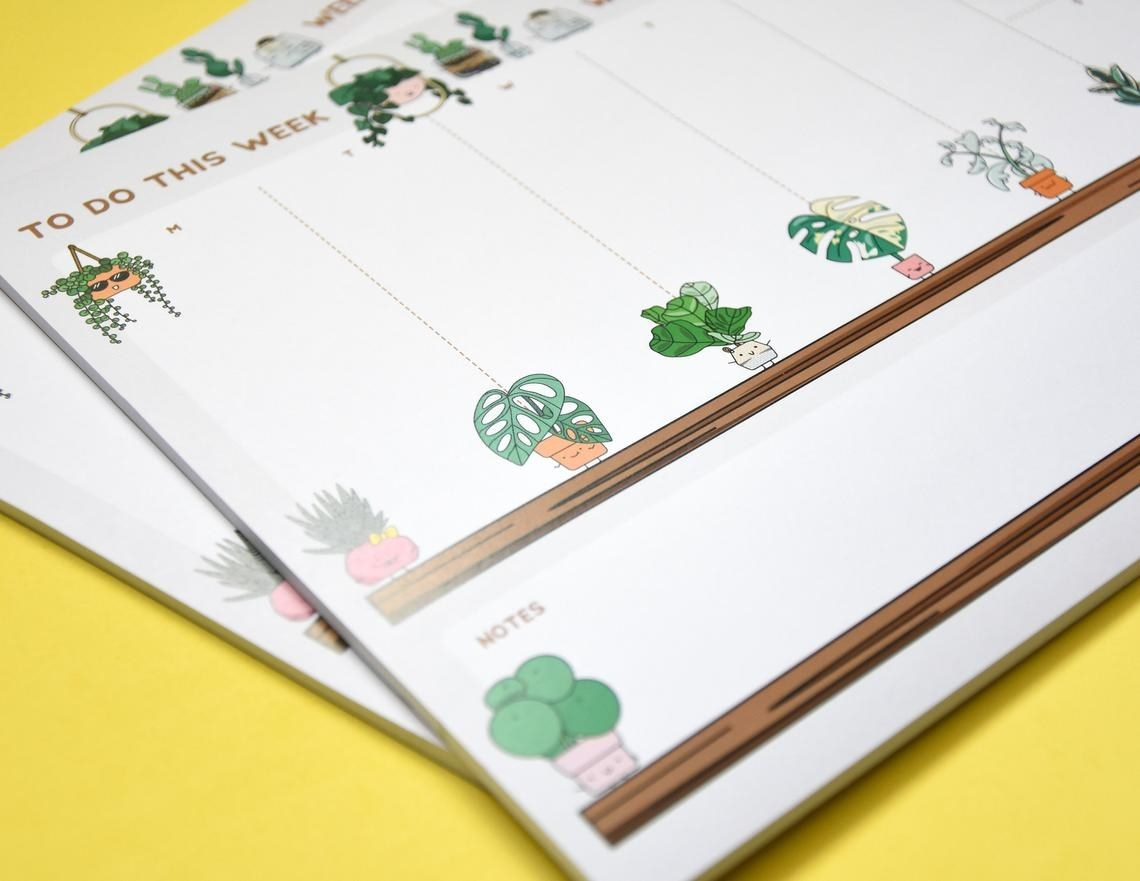 Two plant-themed to-do lists stacked on top of each other