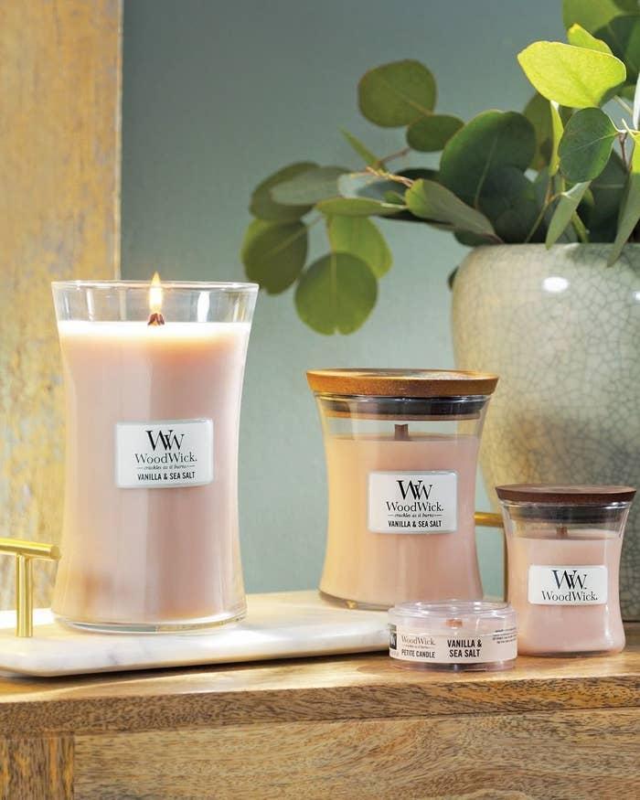 Woodwick candles in vanilla sea salt scent