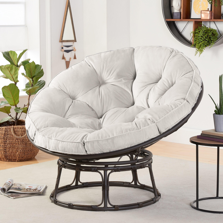Papasan chair in pumice gray fabric