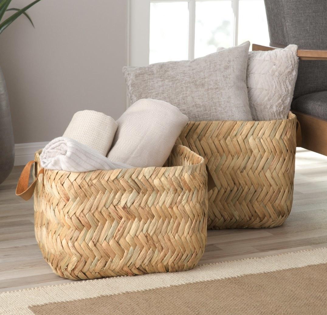 Herringbone rectangular basket set