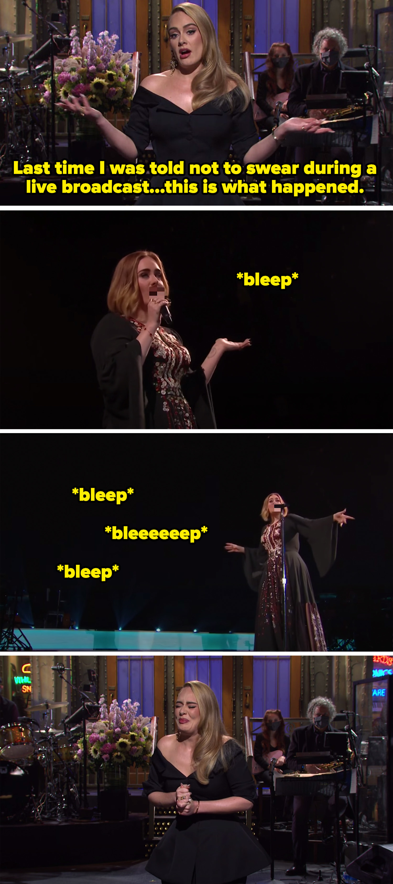 Adele continuing to swear after being told not to