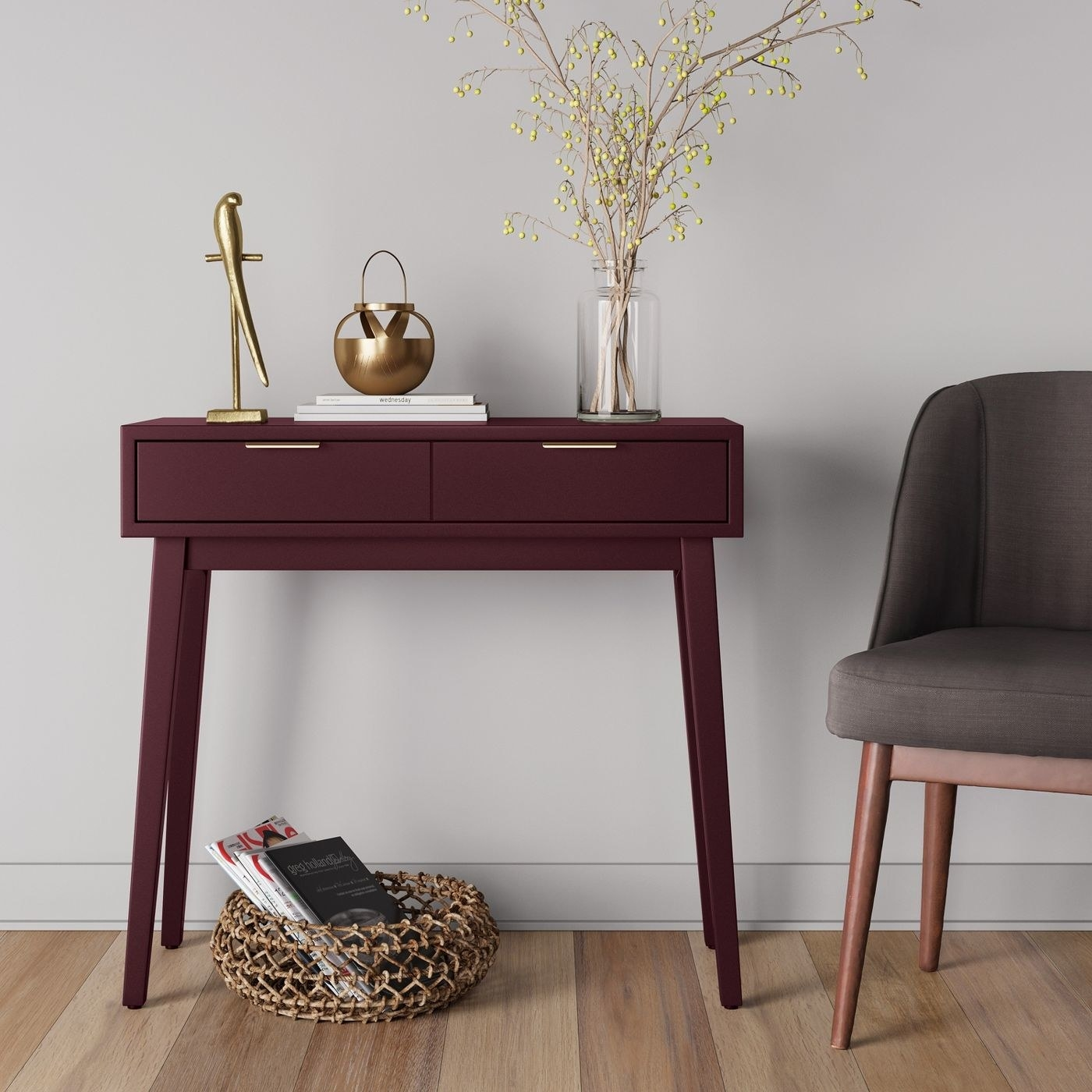 The console table in an entryway