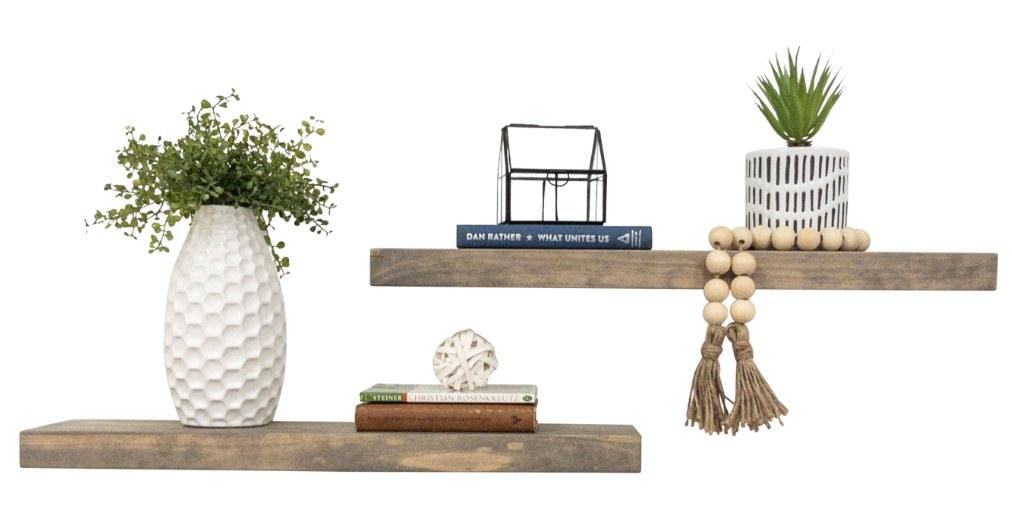 Rustic pine wood shelves